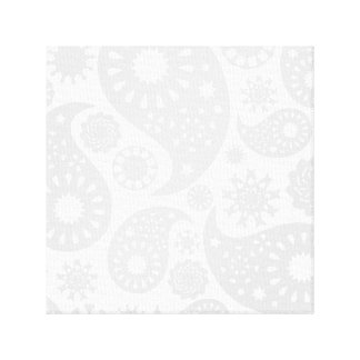Pastel Gray and White Paisley Pattern Design. Stretched Canvas Print