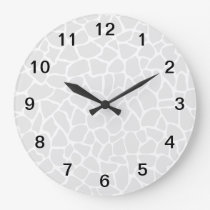 Pastel Gray Animal Print Giraffe Pattern Large Clock