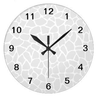 Pastel Gray Animal Print Giraffe Pattern Large Clock