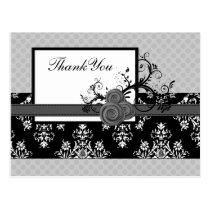 pastel gray damask polka dots Thank you Postcard