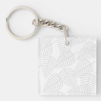 Pastel Gray Leaves. Single-Sided Square Acrylic Keychain