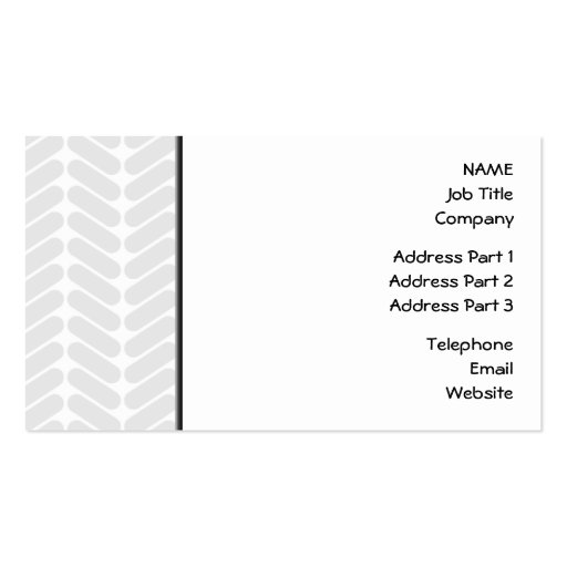 Pastel Gray Zigzag Pattern inspired by Knitting. Business Card Template