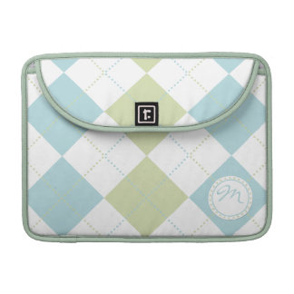 Pastel Green and Blue Checker Patterns w/ Monogram Sleeves For MacBook Pro