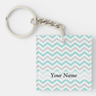 Pastel green and gray chevron pattern Double-Sided square acrylic keychain