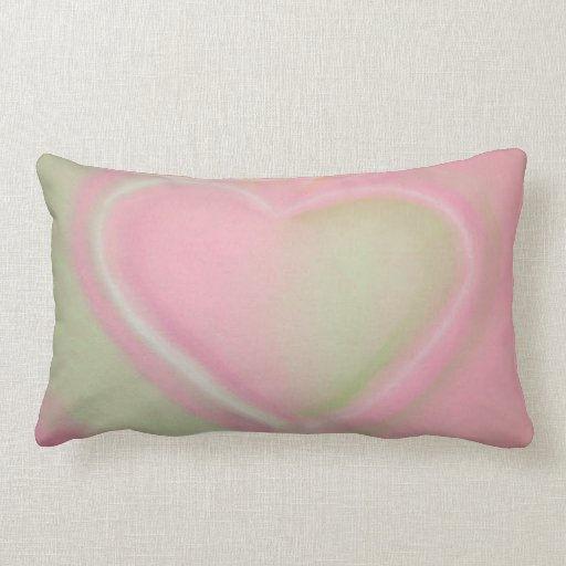 Pastel Green and Pink Heart Throw Pillow-small Zazzle