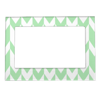 Pastel Green and White Chevron Pattern. Magnetic Frames