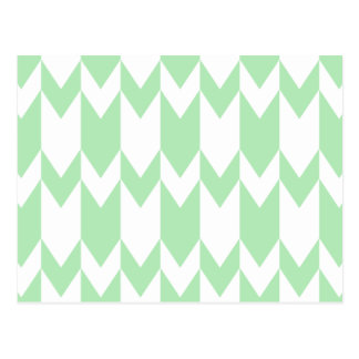 Pastel Green and White Chevron Pattern. Postcard