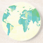 Pastel Green Blue Stripes Map Coasters