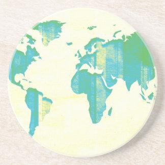 Pastel Green Blue Stripes Map Sandstone Coaster