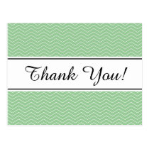 Pastel green chevron pattern thank you postcard