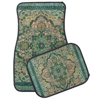 Pastel Green Colorful Floral Tribal Rug Motive Car Floor Mat