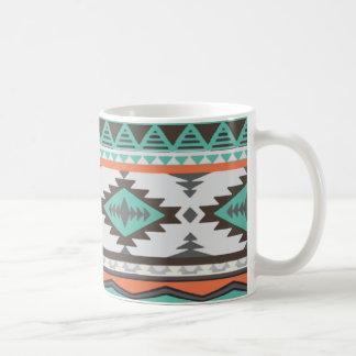 pastel green cyan, light red orange Aztec pattern Coffee Mug