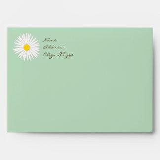 Pastel Green Daisy Envelopes