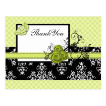 pastel green damask polka dots Thank you Postcard