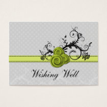 pastel green damask polka dots wishing well cards