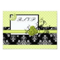 pastel green damask polka  rsvp standard 3.5 x5 card