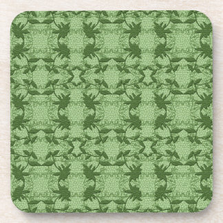 Pastel Green Floral Lace Pattern Coasters