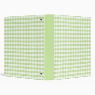 Pastel Green Gingham pattern Binder
