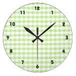Pastel Green Gingham pattern Clock