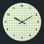 """Pastel Green Gingham pattern Large Clock<br><div class=""""desc"""">green,  pastel,  lime,  gingham,  pattern,  patterned,  patterns,  &quot;green gingham&quot;,  country,  countryside,  &quot;light green&quot;,  check,  checks,  checkered,  checked,  cute,  farm,  rural,  plaid,  pretty,  sweet,  simple,  girly,  retro,  vintage,  modern,  contemporary,  fresh,  fabric,  kitchen,  cotton,  material,  squares,  square,  squared,  cloth,  tablecloth,  teacloth,  texture,  white,  classic,  rustic,  farmer,  shabby,  chic</div>"""
