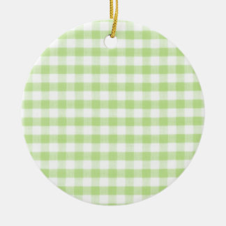 Pastel Green Gingham pattern Christmas Ornaments
