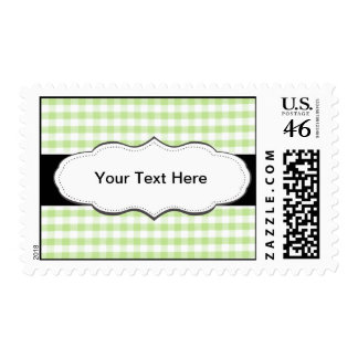 Pastel Green Gingham pattern Postage Stamp