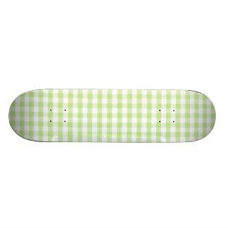 Pastel Green Gingham pattern Skateboard Deck
