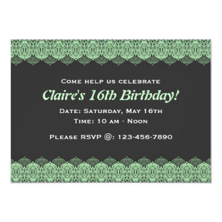 Pastel Green Lace against Dark Gray Card