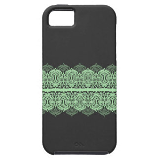 Pastel Green Lace against Dark Gray iPhone SE/5/5s Case