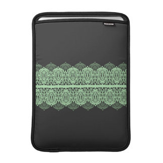 Pastel Green Lace against Dark Gray MacBook Sleeve
