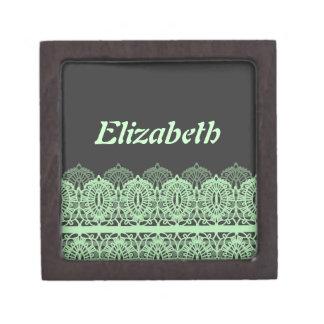 Pastel Green Lace against Dark Gray Premium Jewelry Box