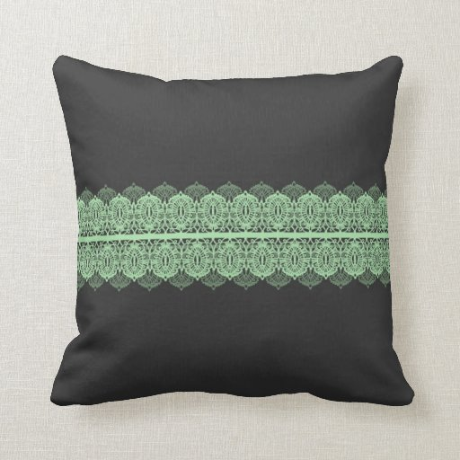 pastel green lace against dark gray throw pillow zazzle. Black Bedroom Furniture Sets. Home Design Ideas