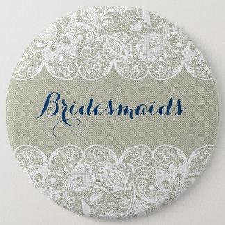 Pastel Green Linen & White Lace Bridesmaids Button