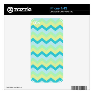 Pastel Green Mix Zigzags Decals For The iPhone 4S