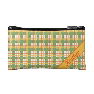Pastel green orange and yellow tartan pattern cosmetic bag