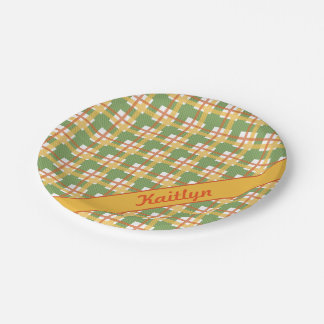 Pastel green orange and yellow tartan pattern paper plate