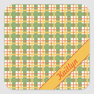Pastel green orange and yellow tartan pattern square sticker