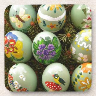 Pastel Green Painted Eggs Beverage Coasters