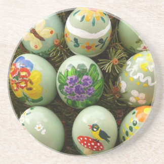 Pastel Green Painted Eggs Coasters