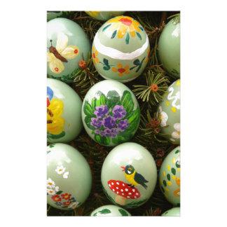 Pastel Green Painted Eggs Custom Stationery