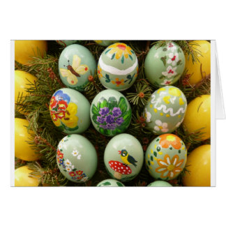 Pastel Green Painted Eggs Greeting Card