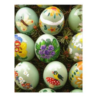 Pastel Green Painted Eggs Letterhead Design