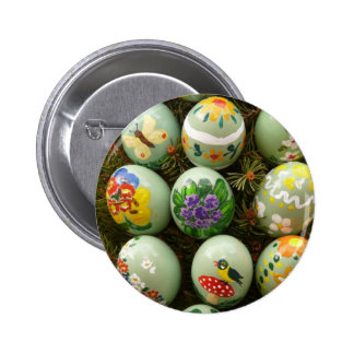 Pastel Green Painted Eggs Pinback Button