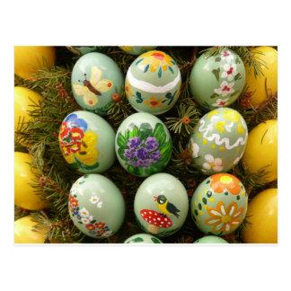 Pastel Green Painted Eggs Postcard
