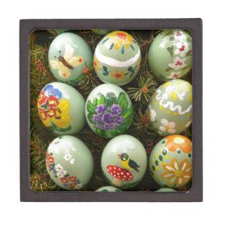 Pastel Green Painted Eggs Premium Trinket Box