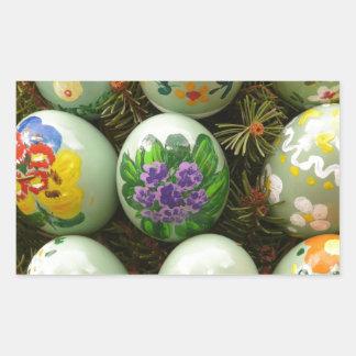 Pastel Green Painted Eggs Rectangular Sticker