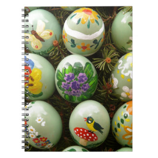 Pastel Green Painted Eggs Spiral Note Books