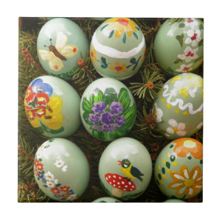 Pastel Green Painted Eggs Tiles