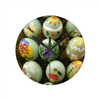 Pastel Green Painted Eggs Wallclock