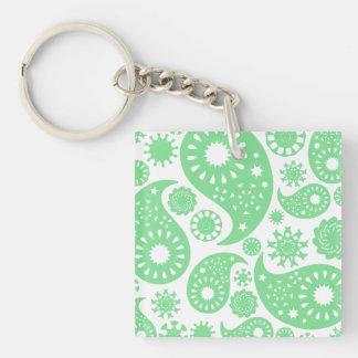 Pastel Green Paisley Pattern Design Acrylic Keychain